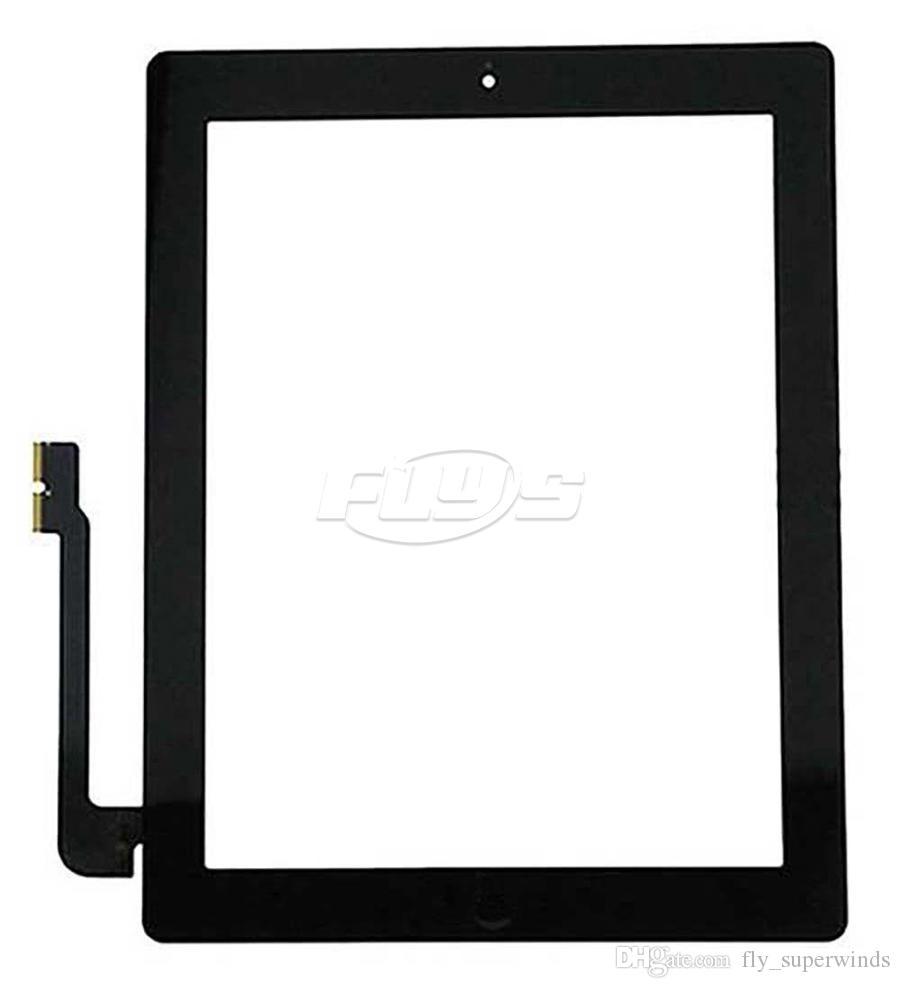 Für iPad 2 3 4 Touchscreen Digitizer Assembly Ersatz Mit Home Button Flex Kabel IC und adhensive Kostenlose DHL
