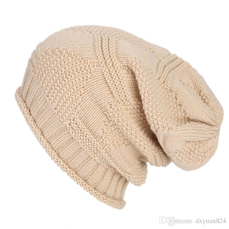 78e1233c513 Fashion Winter Fall Unisex Baggy Beanie Knit Crochet Slouchy Warm Cap Men  Women Oversized Striped Ski Hat For Outdoor Sports Hats Online Caps From  Dxyuan824 ...