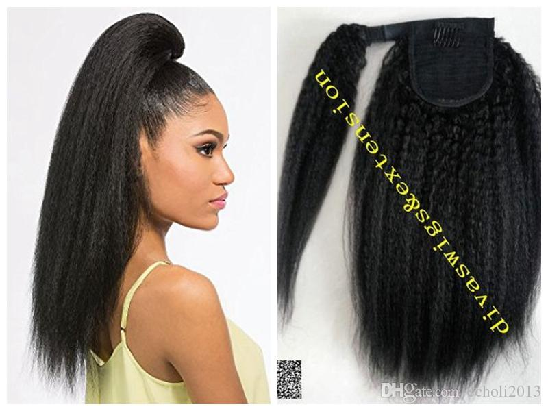 dora dora Wrap Drawstring Human Hair Ponytail Extensions Coarse Curly Afro Kinky Straight Italian Yaki Curly Ponytail Extension