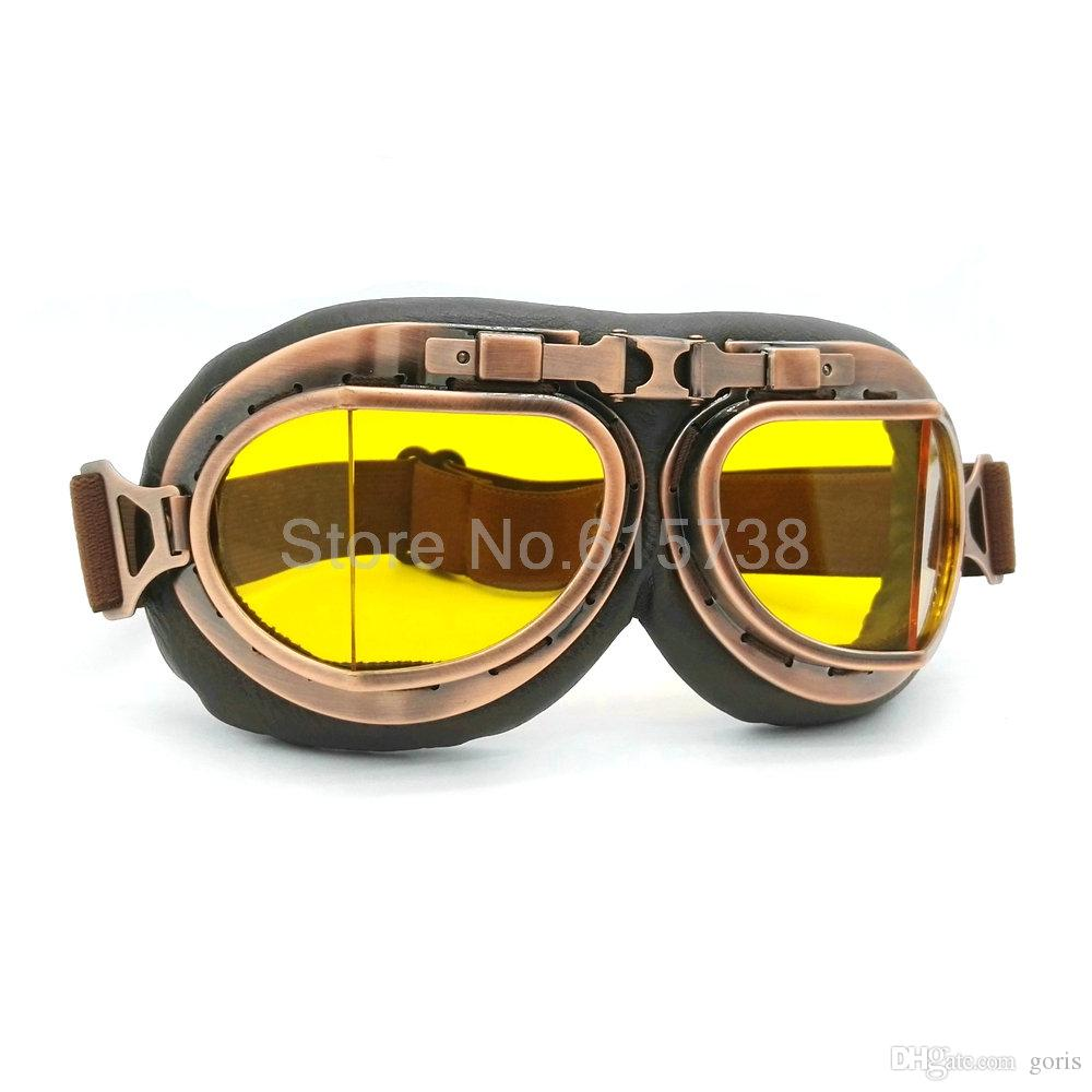 Vintage Bronze Cycling Helmet Motocross Goggles Clear Steampunk Goggles Sport Sunglasses For Motorcycle Cafe Racer Dirt Bike