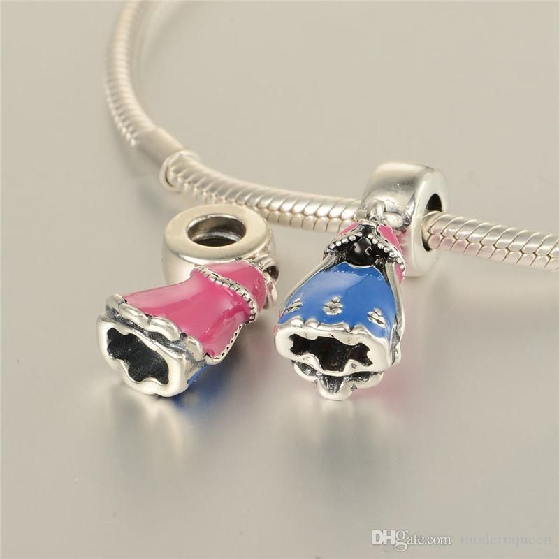 Pink charms beads S925 sterling silver fits for original brand style dress European charms bracelets 791591ENMX H8