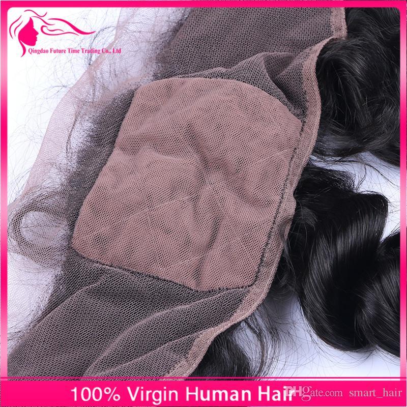 Fermeture frontale en soie avec des cheveux de bébé 8A Dentelle brésilienne de front de cheveux humains avec dessus en soie sans milieu moyen Troisième partie