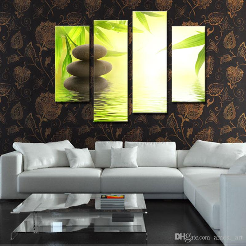 Discount 4 Picture Combination Canvas Prints Wall Art Stone Bamboo ...