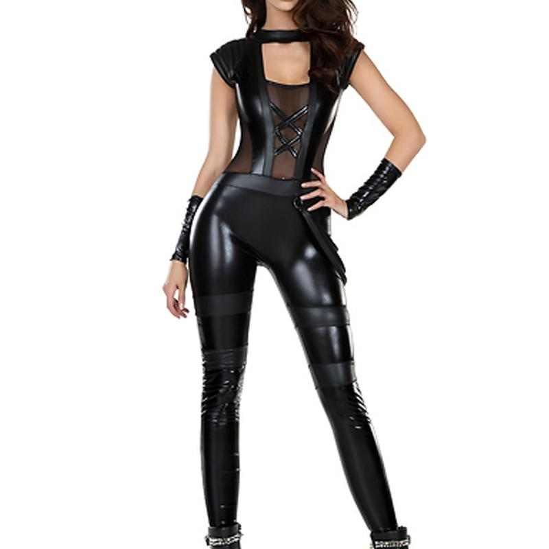 Sexy Catsuit Lingerie Black Faux Leather Long Jumpsuit Transparent Mesh Splice Hollow Out Bodysuit Pole Dance Costume for Women W850349