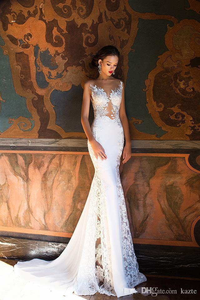 Milla Nova Vintage Crochet Lace Mermaid Castle Wedding Dresses Modest Sheer Back Sweep Train Beach Floral Bridal Wedding Gowns