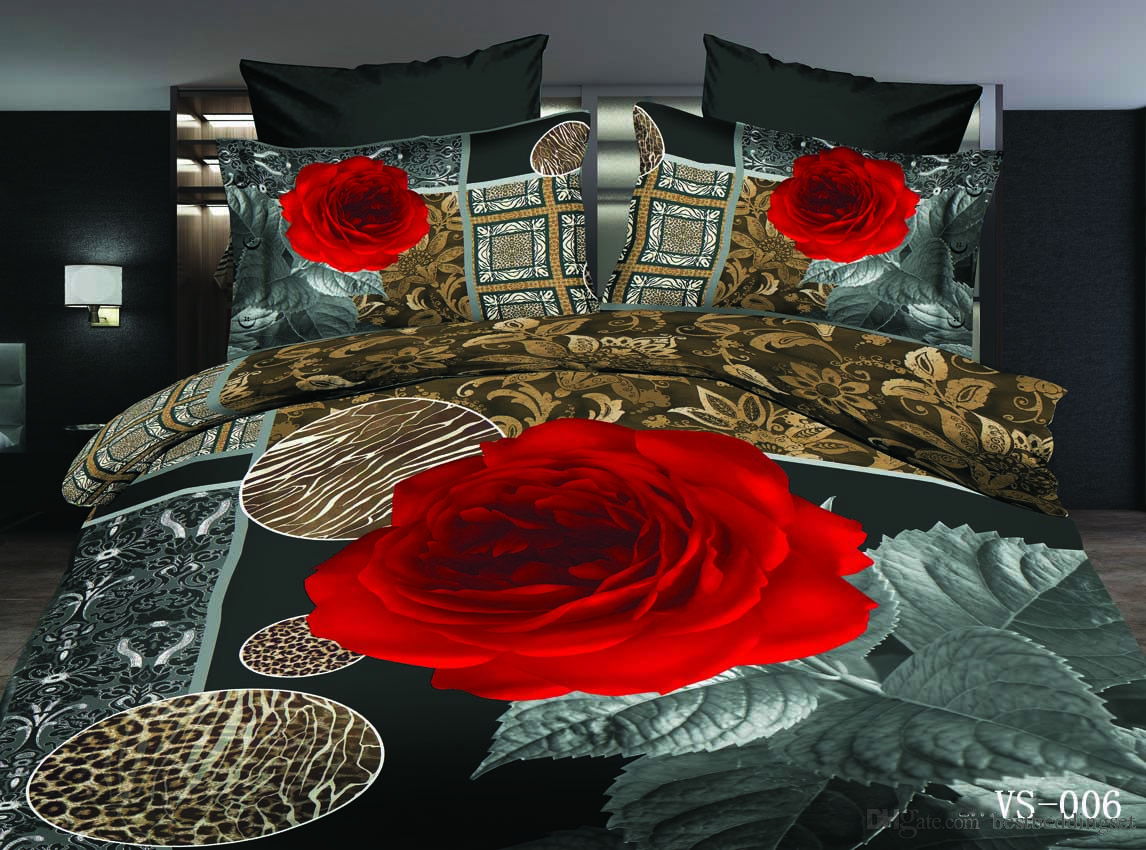 Six Pieces Bedding Sets 3d Rose Printed Polyester Cotton