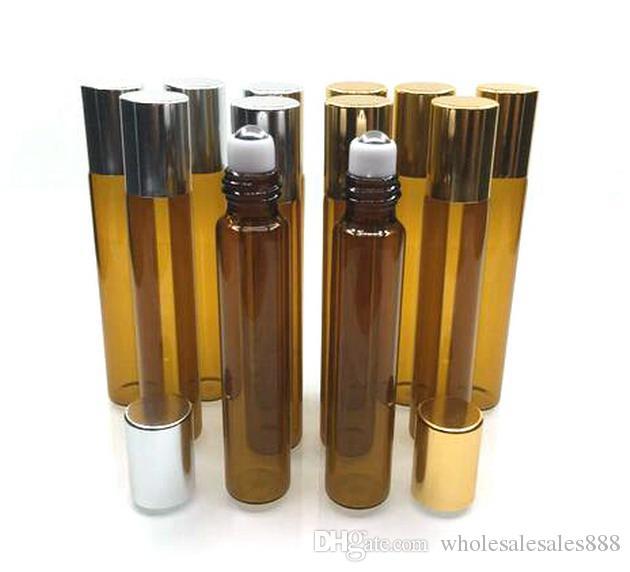 10 ml de Vidro Marrom Rolo de Óleo Essencial Garrafas com Bolas de Rolos De Aço Inoxidável, para Perfumes Garrafas De Vidro 300 Pçs / lote Por DHL Frete Grátis