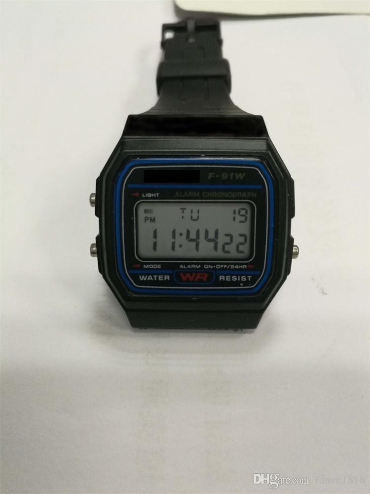 Led digital preto relógios de plástico dos homens relógio esportivo luminosa f91w relógio de pulso eletrônico ultra fino led relógio eletrônico