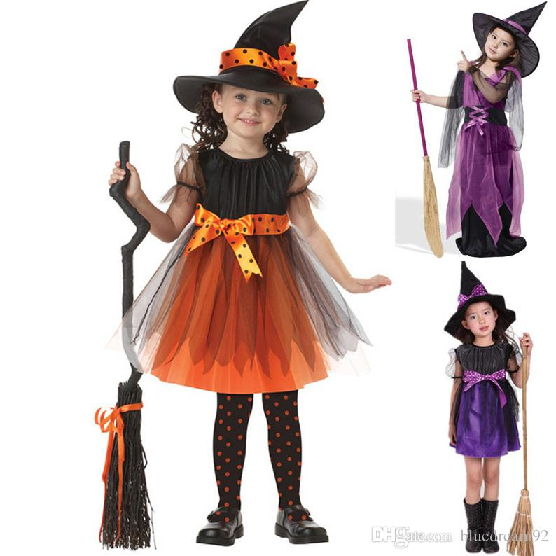 4 People Halloween Costume.Halloween Kids Costumes European And American Children Party Stage Performance Clothes Witches Cosplay Costumes Halloween Costume Wholesale