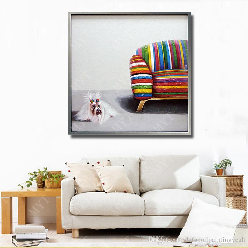 Pop Art Shaggy Dog on Canvas Modern Abstract Oil Painting Wall Art Decorative Living Room Wall Pictures Animal Oil Painting