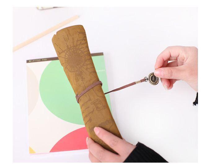 Livraison gratuite, / 3style PU Vintage carte de pirate rouleau étui à crayons stylo pochette, stylo sac cosmétique sacs à crayons