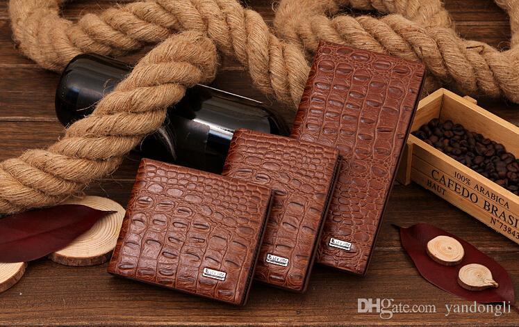 2016 new crocodile pattern men's business casual short wallet wallet