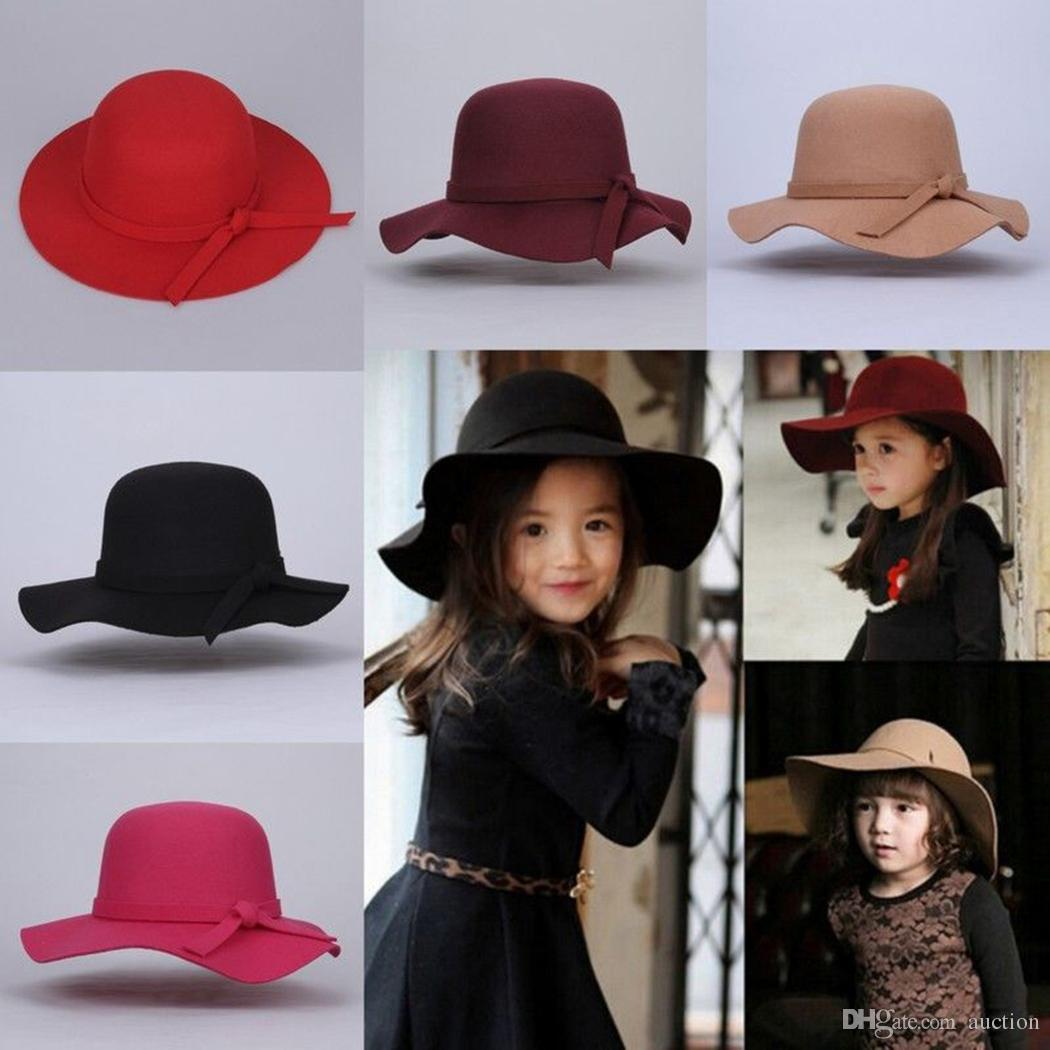 30a827f8890 2019 Hot 2017 Little Girls Vintage Retro Kids Child Girl Hats Fedora ...