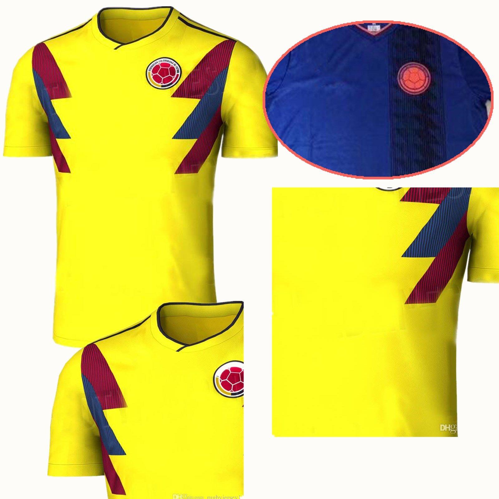 Copa Mundial 2018 Colombia National Home Yellow Jerseys De Fútbol JAMES  FALCAO CUADRAD AGUILAR GUARIN SANCHEZ Adultos 2018 19 Camiseta De Fútbol  Por ... 563944e3b