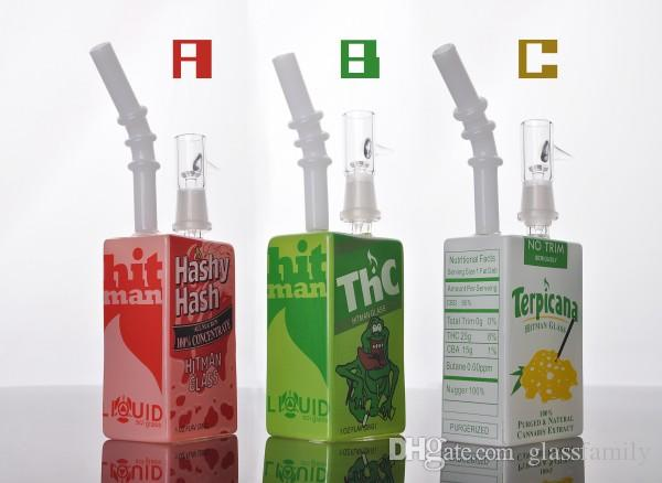 wholesale hitman Mini Liquid glass rigs Glass Cereal Box oil Dab Rig 14.4 mm with domeless glass bong
