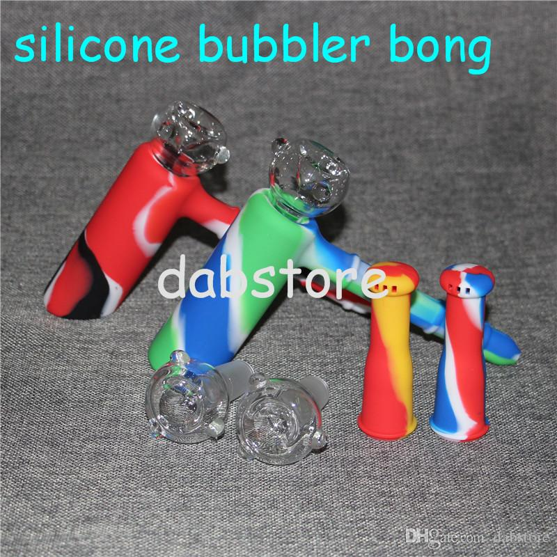 factory price hammer Silicone Water Pipe percolator Recycler Bubbler unbreakabale percolator silicone bongs with glass bowl