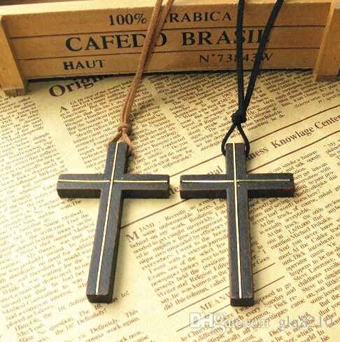 Eingelegte kupfer holz kreuz anhänger halskette vintage lederband pullover kette männer frauen schmuck handgefertigte stilvolle Christian Jesus 12 stücke