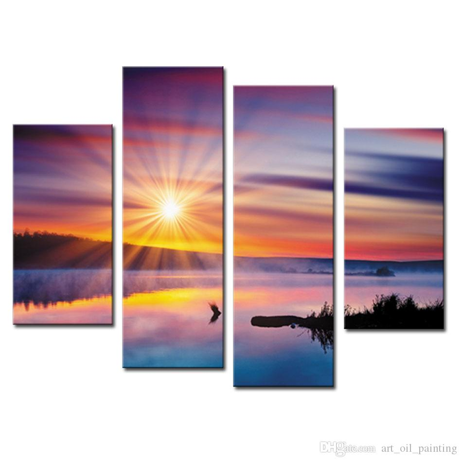 4 Picture Combination Wall Art Painting Lake And Cloud in The Sunshine Landscape Pictures Prints On Canvas For Home Decoration