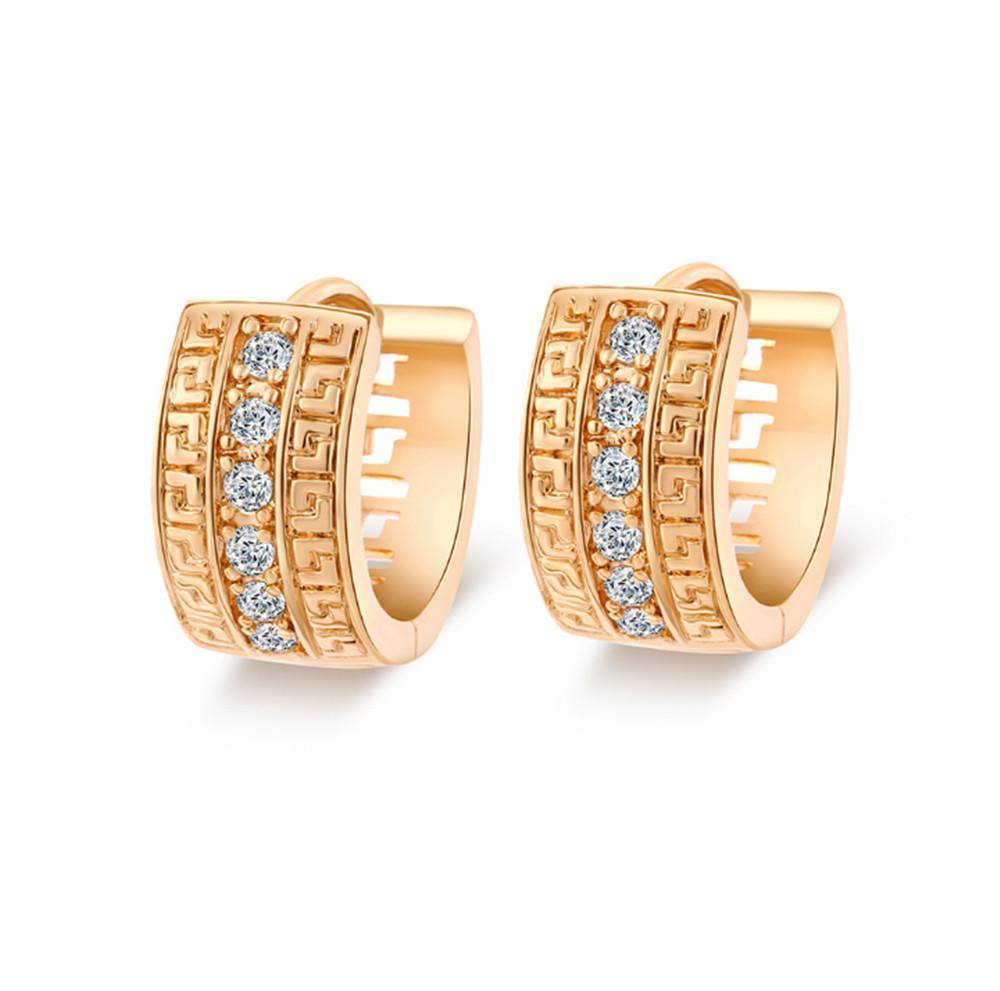 Bom Presente Fashion Clássico Design Simples Clear Brincos Zircão Clipe Brincos De Cuff Para As Mulheres Jóias com 18K Amarelo Banhado A Ouro