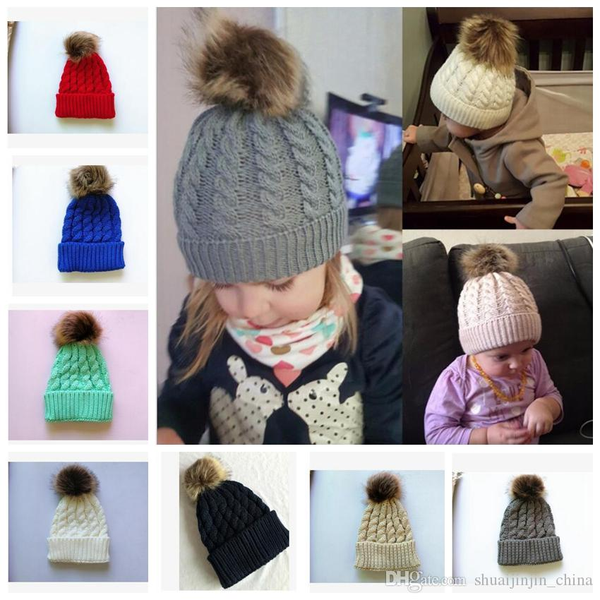 Kids Winter Knitted Hat Pompom Ball Warmer Wool Fur Baby Boys Girls Caps Crochet Knitted Hats Skull Caps Pompom Beanies KKA3203