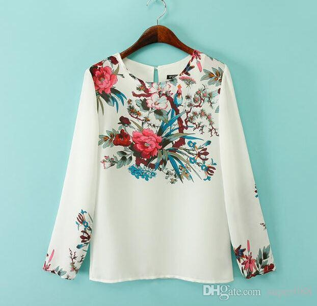 25bb58832b9251 2019 Women Plus Size White Floral Chiffon Blouses Vintage Round Neck Long  Sleeve Shirts Blusas Femininas Office Casual Vintage Tops From Super088, ...