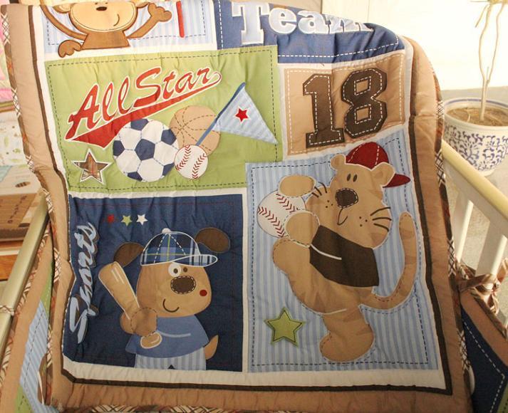 Baby bedding set Embroidery bear baseball Crib bedding Cot bedding set Quilt Bumper Skirt Mattress Cover Urine bag blanket