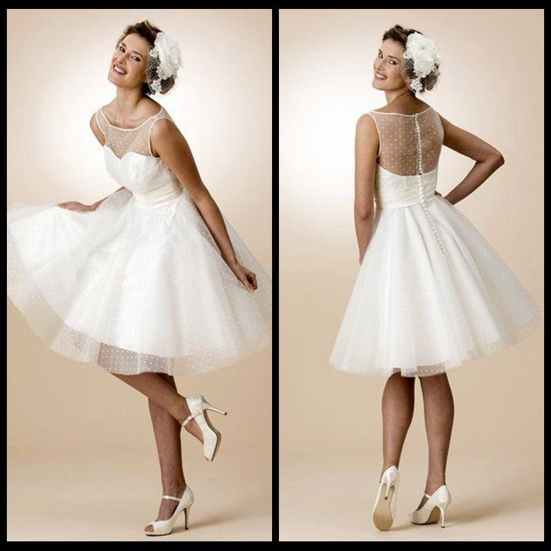 Discount 1950\'S Knee Length Wedding Dress Ivory Ruched Tulle A Line ...