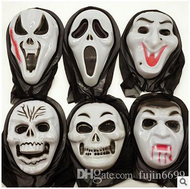 Halloween horror ghost face mask hooded devil mask screaming Funny party party dress up men and women props