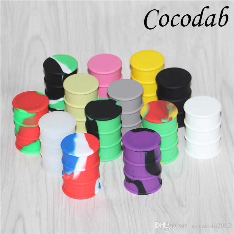 Barrel shape big size 26ml wax bho oil dab oil wax silicone barrel rubber drum silicone jars container rubber for wax slick containers
