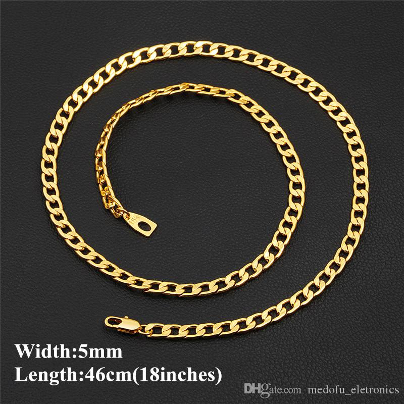 400d41a660f Europe And Ameica Hotsale Men Chain Real 18K Yellow Gold Plated 5mm 46cm 18  Figaro Chain for Men Women Online with  5.99 Piece on Medofu eletronics s  Store ...