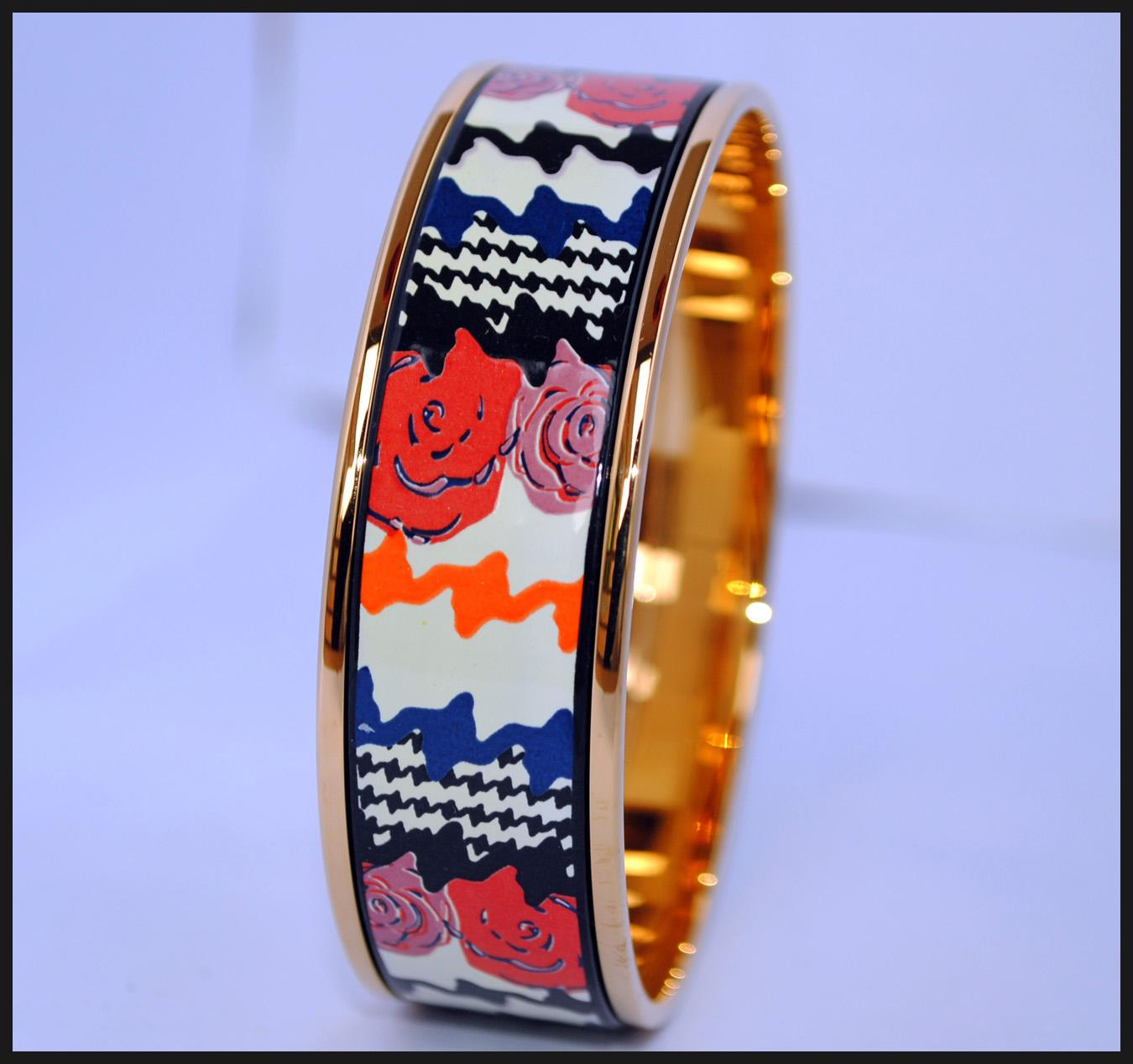 Rose Series 18K gold-plated enamel bangle bracelet for woman Top quality bracelets bangles width 20mm Fashion jewelry