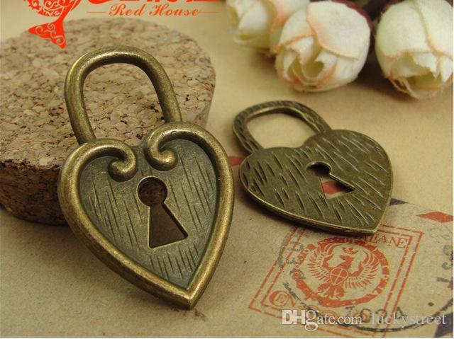 A3097 25*40MM Retro vintage bulk heart lock charms handmade DIY accessories wholesale, Antique bronze Zinc alloy metal pendant jewelry