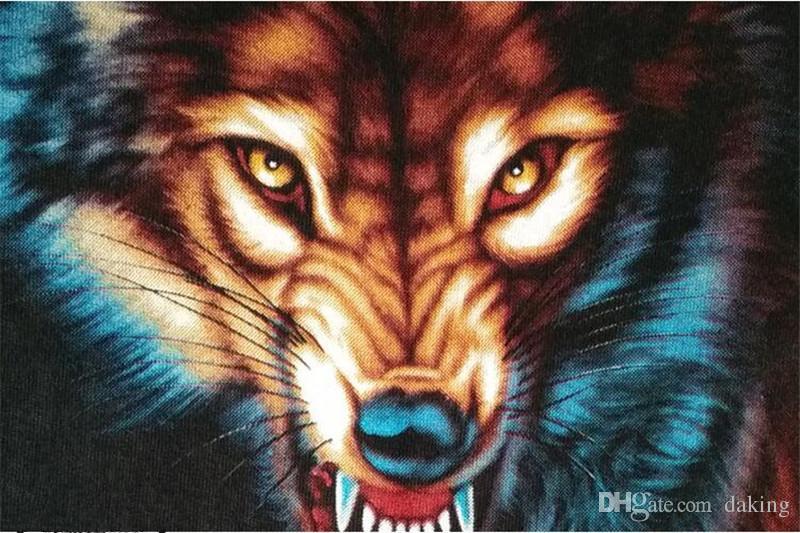 Summer US Russia Tide Brave Men Tiger Wolf head 3D Animal Print streetwear TShirt short sleeve black white cotton Chiffon Anti-Wrinkle shirt