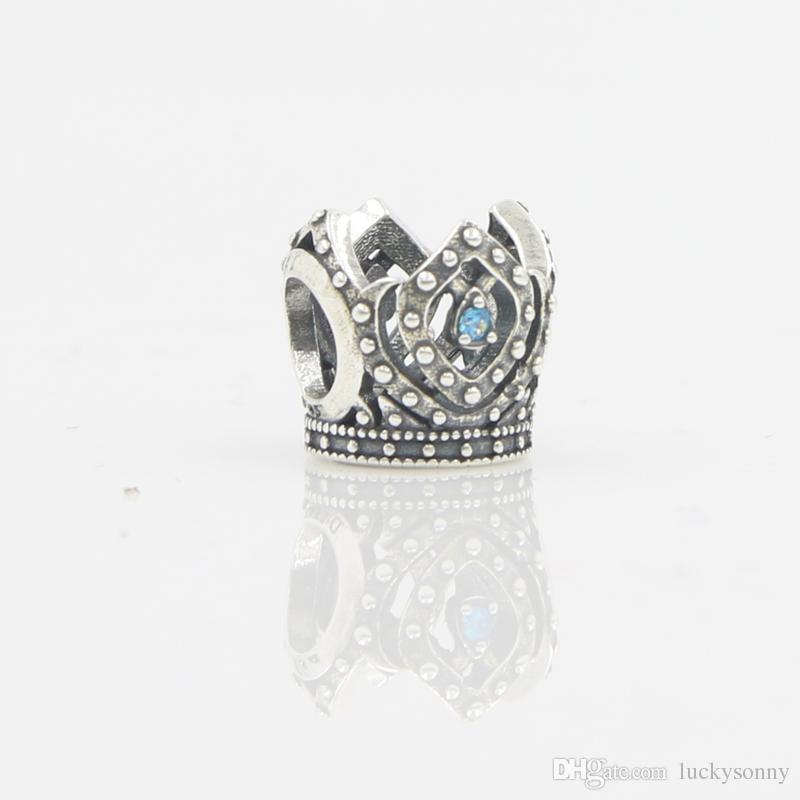 Silver Antique Bead Crown Pattern Fashion Jewelry Wholesale 925 Sterling Silver Charm Bracelets & Bangles for Women European Beads Bracelet