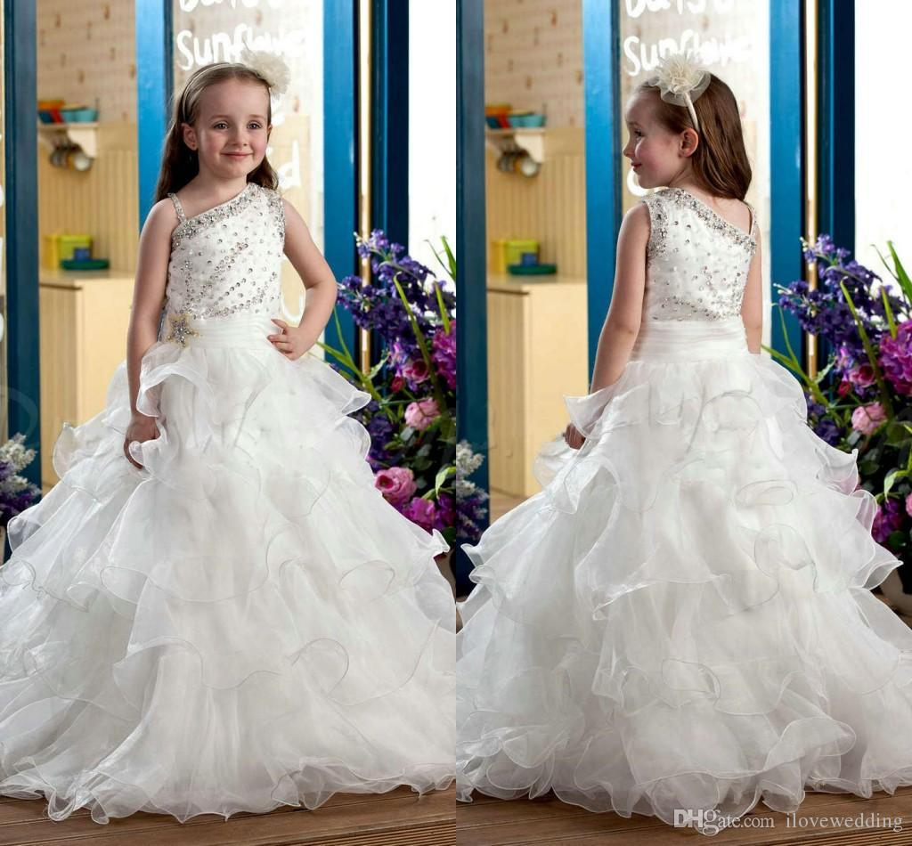 Sweet Ivory Ball Gown Kids Formal Evening Gowns For Communion With Cap Sleeves Beaded Crystals Floor Length Flower Girls Dresses For Wedding