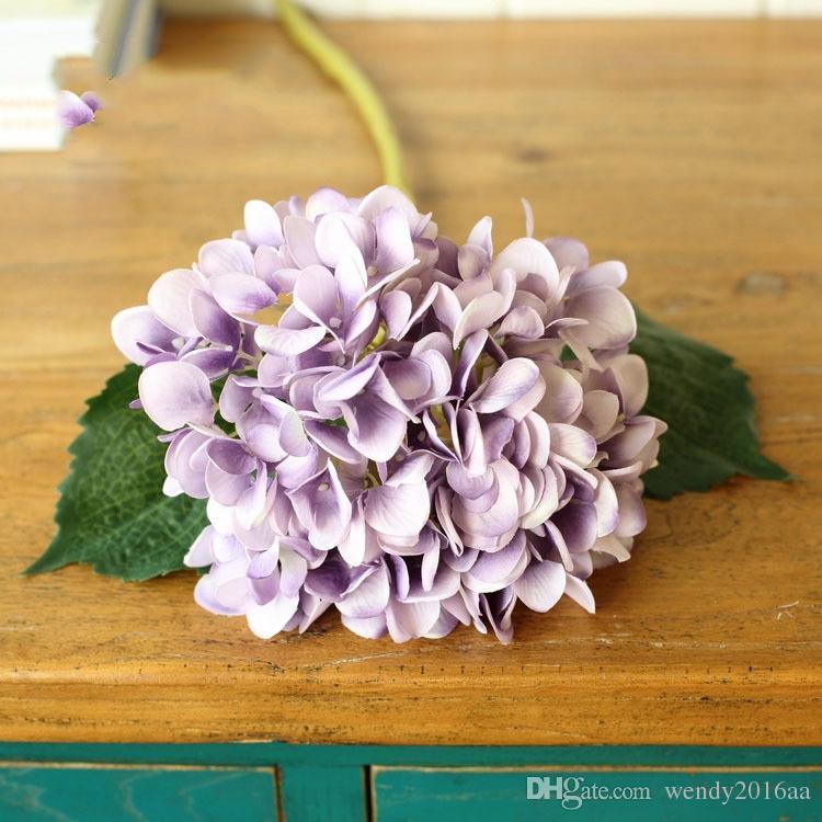10 adet / grup renkli düğün ekran çiçek 47 cm PU lateks Dekoratif flowerswreaths için ortanca çiçek Simülasyon