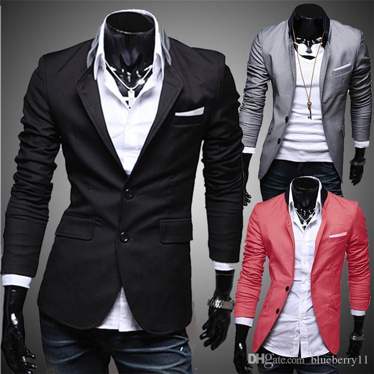 Moda Invierno Negro Rojo Gris Hombres Ropa Casual Algodón de manga larga Casual Slim Fit Traje elegante Blazer Chaquetas Abrigos