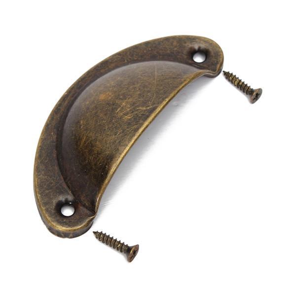 Vintage Antique Móveis De Bronze Puxador de Gabinete Knob Gaveta Shell Puxar Com Parafusos