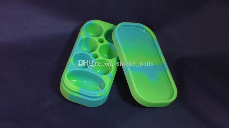 도매 FDA 다채로운 Dab Jar / Container - 레고 스타일 6 + 1 실리콘 항아리 DHL은 무료로 모든 왁스 및 두꺼운 오일에 적합합니다