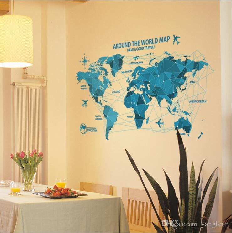New blue world map sticker wall stickers home office room new blue world map sticker wall stickers home office room decoration art decoration life new decorations discount wall stickers dragon wall decals from gumiabroncs Gallery