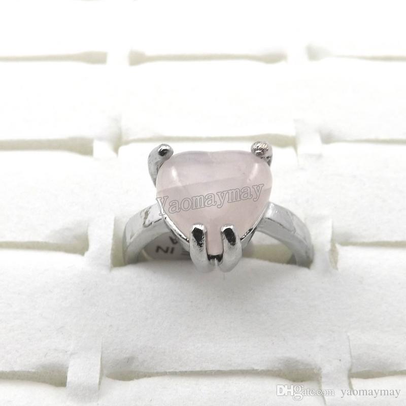Мода розовый кристалл кольца женские ювелирные изделия розовый кварцевые кольца 50 шт. Оптовая