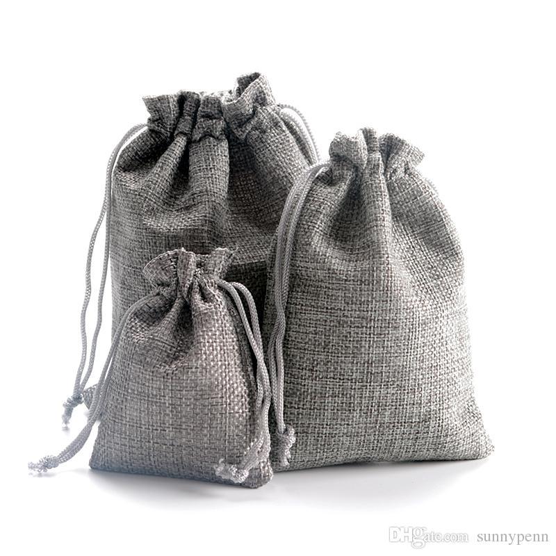 10x14 سنتيمتر رمادي مخصص مطبوعة فو الجوت الرباط الحقائب هدية أكياس تغليف المجوهرات أنيق الخيش الطبيعية حبل الرباط قابلة لإعادة الاستخدام.