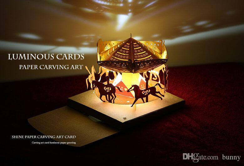 High Quality Handmade Creative Stereo 3d Carousel With Lamp Art Paper Cards Luminous  Greeting Cards Wedding Party Decorations 2016 May Style Hire Wedding  Decorations ...