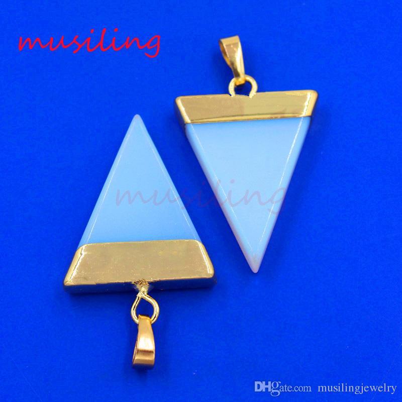 Pendenti Gioielli Charms Gemma Naturale Pietra Ametista Aventurine Opale etc Triangolo Piramide Fetta Accessori Gioielli Amuleto Europeo