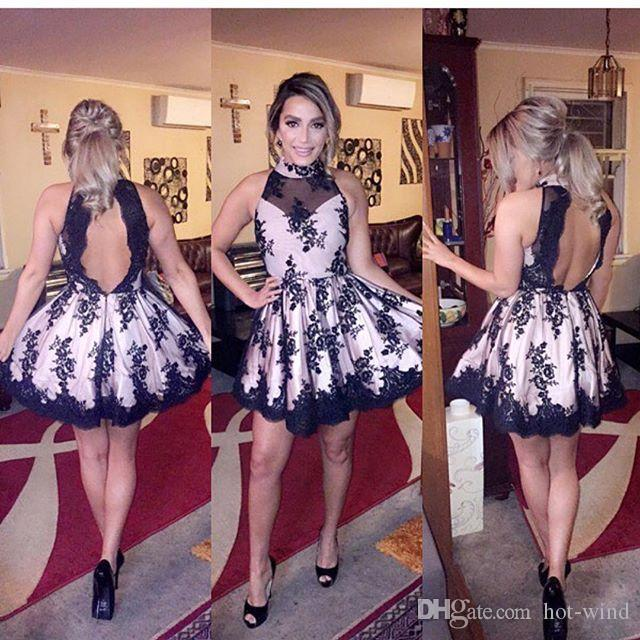 Little Black Short Mini Cocktail Dresses Halter High Neck Lace Appliques Prom Dresses Sexy Open Back Short Homecoming Dresses Party Dresses