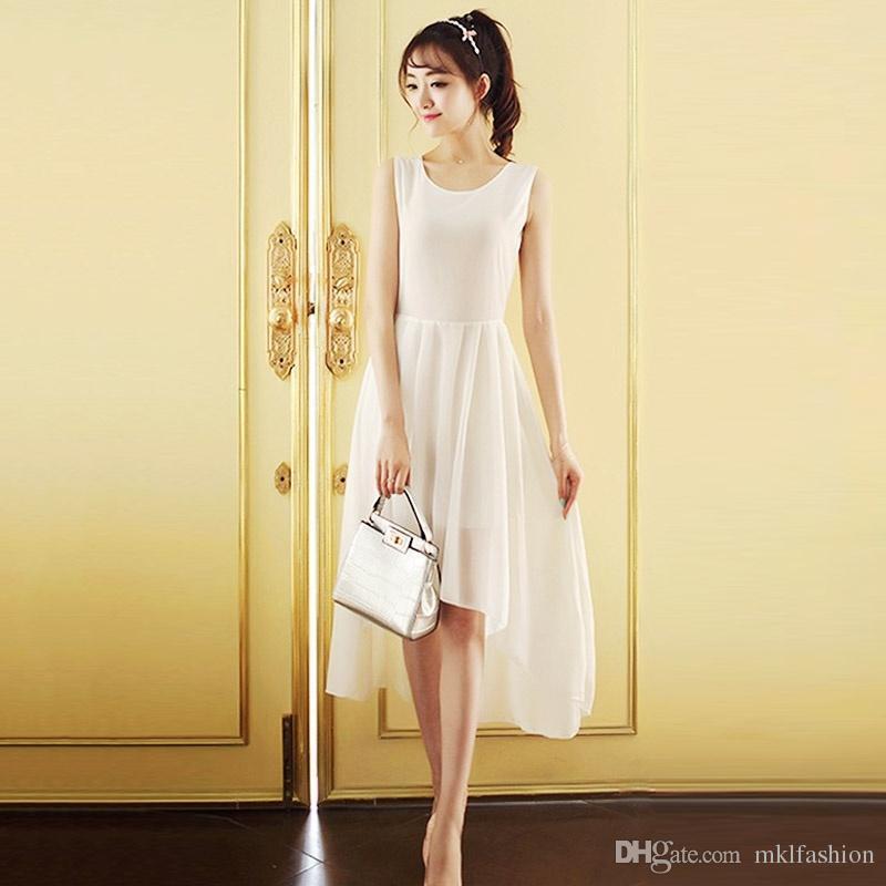 Elegante Chiffon Vestido Simples Estilo Doce Sem Mangas Frente Curto Voltar Longo Irregular Swing Vestido de Festa Vestido De Casamento Da Dama de honra