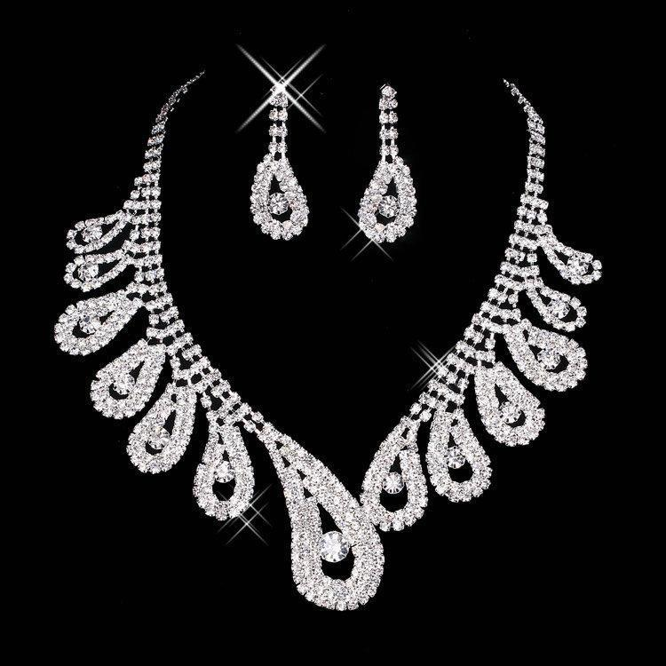 New Cheap Bling Crystal Bridal Jewelry Set silver plated necklace diamond earrings Wedding jewelry sets for bride women Bridal Accessories