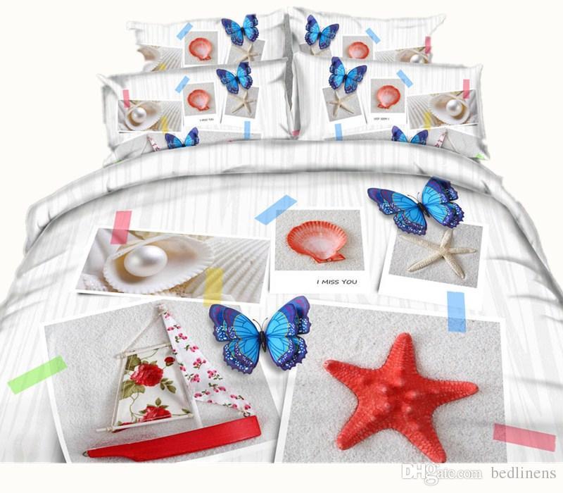 Galáxia Borboleta Preta 3D Impresso Conjunto de Cama Gêmeo Completa Rainha King Size Capa Dovet Fronha Consolador Animal Pérola Shell Starfish Bed Set