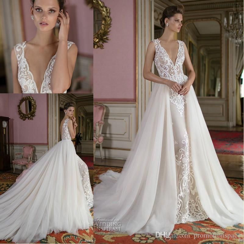 4e5082963d9a Discount Berta Fall 2016 Gorgeous Wedding Dresses With Detachable Train  Deep V Neck Lace Appliqued Backless Bridal Gowns Custom Made Lace Princess  Wedding ...