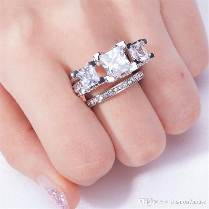 Brand gemstone ring Finger Jewelry Three stones white Topaz Diamond Rings set 2-in-1 925 Sterling Silver Engagement Wedding Ring For Women